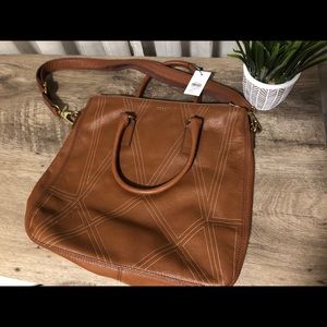 NWT Fossil Lucy Tote in Cognac